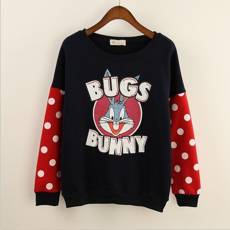 [Ada] bugs bunny cartoon hoodies mix color dot sleeve o neck cotton sweatshirts for women fleece warm sweatshirt free shipping(China (Mainland))