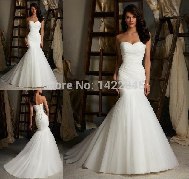 foto real fábrica venda direta sereia sexy strapless rendas até branco marfim vestido de noiva de tule 2014 de casamento vestido tamanho 2-16(China (Mainland))