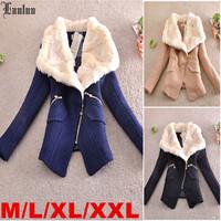 Lanluu Hot Europe Fashion Winter Wool Coats Thick Big Fur Collar Slim Women Woolen Jackets SQ866