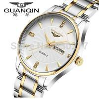Guanqin  Men between the white plate steel waterproof luminous gold quartz watch