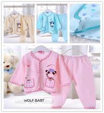 Retail 0-3months pajamas nightclothes underwear set cartoon cotton baby kids infants clothes clothing spring fall autumn(China (Mainland))