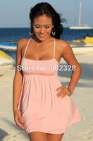 Top Quality Women Sexy Clubwear SW182 Mini Dress with Strap Pink Beach Wear Club Wear Party Lingerie