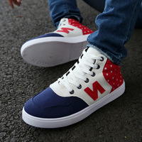 Canvas Male flat heels Casual shoes Letter star pattern 3 colors shoes For men