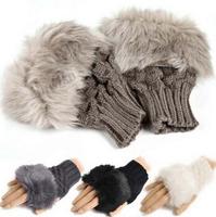 Free shipping Fashion Winter Arm Warmer Fingerless Gloves, Knitted Fur Trim Gloves Mitten