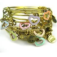 Alex and Ani style Multi Color Heart charm Bangles Bracelet Golden Alloy Charm Bracelets and Bangle heart shape charm Bracelets