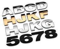 Large size personality DIY letters car emblems car metal modified alphanumeric/number emblems car decorative car logo sticker