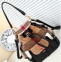 Women Fashion Check Canvas Bag- 2 Ways Using Bag--- Horse Shoulder Bag