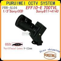 "100%Original 1/3""Sony Effio-E 700TVLines 960H CCD 9mm~22mm varifocal Lens with OSD Menu Mini cctv camera. Free Shipping"