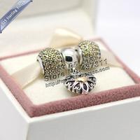 NEW S925 Sterling Silver Golden Autumn Charm 14K gold pendant Jewelry Set Fit European Bracelet Necklace Women Jewelry Gifts Set