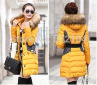 Girls winter coat long paragraph tide coat 2014 new Korean hooded fur collar warm thickening selling models