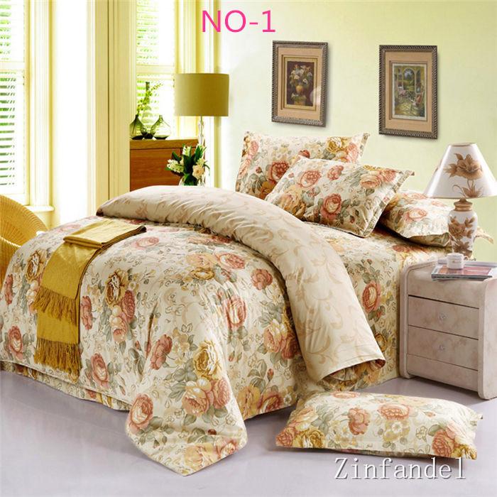 Jogo de cama de luxo 4 pcs roupa de cama conjuntos de roupa de cama rainha king size colcha edredon conjunto de tampa lençóis algodão colcha navio rápido(China (Mainland))