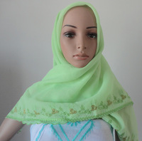 Oumeina made to order muslim bandanas hijab woman scarf:solid Voile plant pattern border stencil embroidery stone hot-fix HYS-52