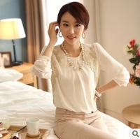 5149 summer loose chiffon shirt top plus size lace high quality long-sleeve chiffon shirt female