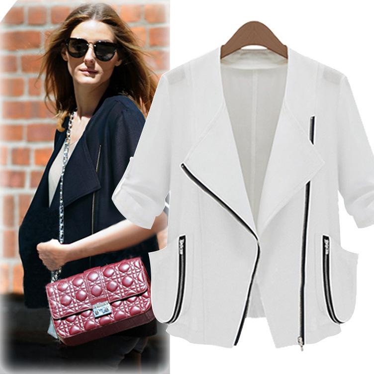 2014 outono meia luva das mulheres curto moda jaqueta solta das mulheres protetor solar camisa do ar condicionado camisa topo(China (Mainland))