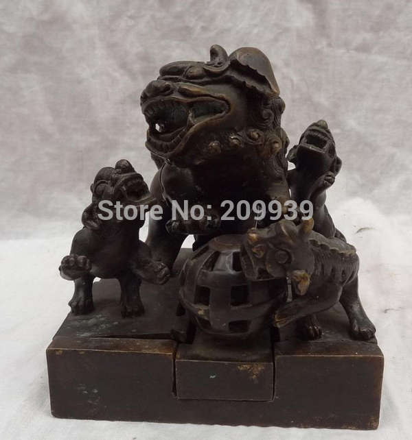 huij 006708 Chinese Bronze Buddhism Old HanZi Lion PiXiu Head Ball ...