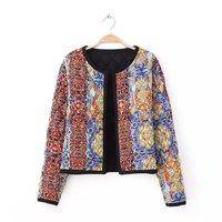 Women leisure cotton flower prints o-neck long sleeves open stitch short jackets 332527