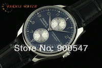 2014 New Brand 43mm Parnis Portuguese Automatic Power Reserve Blue Dial Leather Men's Watch