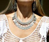 1pc New ladies European Bohemian Gypsy vintage silver coin round bib choker collar Turkish statement Necklace women party gift