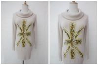Fashion turtleneck print medium-long pullover sweater