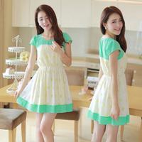 013 2014 spring and summer slim chiffon one-piece dress short-sleeve dress