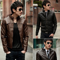 The spring and autumn period and the new fashion More leather coat pocket cultivate one's morality men's coat