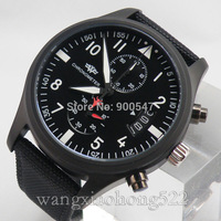 Details about wekiss black dail PVD case date Full chronograph Run seconds mens Watch 007