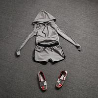 Euroepe New Fashion 2014 Autumn Winter Women Female Casual Brand Plus Size Sportswear Hoodie Sweatshirt And Shorts Tracksuit Set