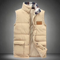 2014 Autumn And Winter Vest Men Sleeveless Coat Men Vest Cotton Wadded Jacket Vest Plus Size 4XL 5XL Vest Total 5 Colors