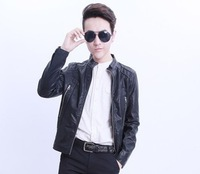 The new han edition water-washed leather emulational leather locomotive cultivate one's morality men's leather jacket