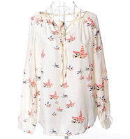 Flying pigeon tether long-sleeved v-neck joker women's printed chiffon unlined upper garment of big yards