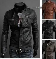 Men's clothing zipper collar motorcycle leather jacke