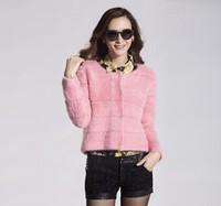 Gold plush mink sweater short cardigan design marten velvet outerwear