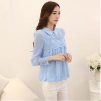 2014 women's fashion lace patchwork basic shirt peter pan collar loose long-sleeve chiffon shirt