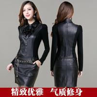 2014 women leather clothing slim long-sleeve basic leather one-piece dress female plus size plus size
