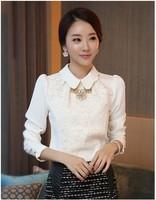 5148 2014 spring sweet flower lace patchwork chiffon shirt