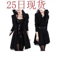 2014 plus size one-piece dress black lace dress autumn skirt long-sleeve outerwear one-piece dress