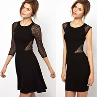 sexy dress Lace patchwork cutout high-elastic slim dresses women