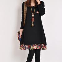 2014 plus size women clothing  plus size plus size faux two piece long-sleeve dress casual korean autumn dress 100kg can wear