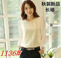 Chiffon shirt lace long-sleeve basic top shirt female summer 2013 autumn professional women's