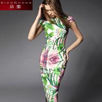 Small 2014 print elegant cheongsam high quality elegant vintage dress slim hip slim one-piece dress female