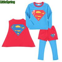 Retail  clothing set kids cotton three-piece suits boys Spring New Super hero T-shirt + Cloak + culottes  kids clothes ELZ-T0344