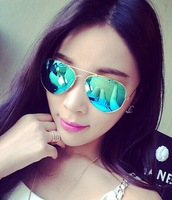 Oculos De Sol Masculino Direct Selling New Adult Aviator/pilot Alloy 2014 Reflective Sunglasses Female Star Style Large Colorful