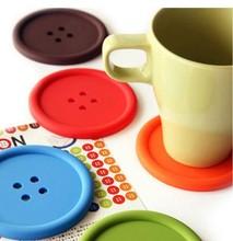 lote de 4 piezas novedad almohadilla de silicona botón posavasos taza de té colchón bebidas titular del mantel(China (Mainland))