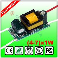 4-7*1W LED driver 4 5 6 7W lamp power transformer AC85-277V inside Driver for LED lamp Driver for light