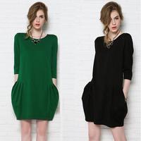 2014 summer fashion one-piece dress loose elegant half sleeve one-piece dress women plus size clothing