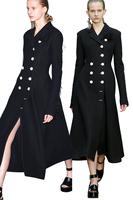Elegant Black Double Breasted Wool Blending Cul-de-lampe Brushed Tapirs Extra Long Woolen Coat Warm Women Coat Dropshipping