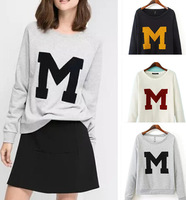 New Fashion Letter M Pattern Casual Pullover Sweatshirt Casacos Femininos 3Colors Women Clothing Autumn/Winter Solid Hoodies