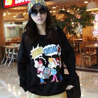 2014 women's loose medium-long plus size cartoon o-neck long-sleeve sweatshirt