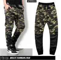 Camouflage style, New Men`s faux leather pants 2014 fashion patchwork design military joggers sport camo trousers plus size XXXL