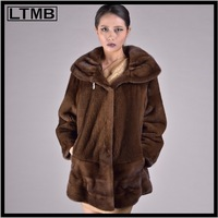 LTMB Luxury item for women MINK FUR coat WITH brown color turn down collar  Full sleeve winter clothes LONG COAT